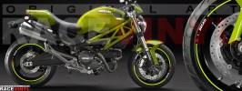 Racevinyl pegatinas llanta moto vinilo sticker rim wheel Ducati Monster amarillo fluor