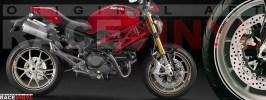 Racevinyl pegatinas llanta moto vinilo sticker rim wheel Ducati Monster negro