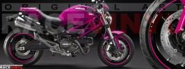 Racevinyl pegatinas llanta moto vinilo sticker rim wheel Ducati Monster rosa