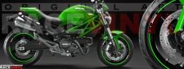 Racevinyl pegatinas llanta moto vinilo sticker rim wheel Ducati Monster verde