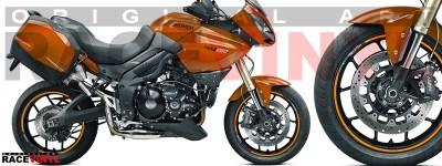 Racevinyl pegatinas llanta moto vinilo sticker rim wheel KTM Triumph Tiger 1050 naranja