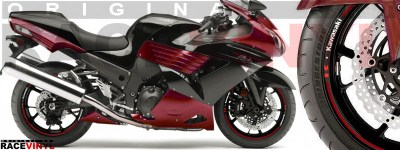 Racevinyl pegatinas llanta moto vinilo sticker rim wheel Kawasaki ZZR 1400 ZXR 14 burdeos