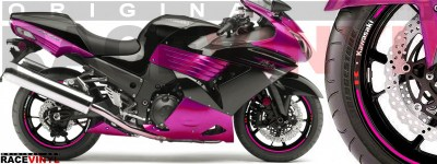 Racevinyl pegatinas llanta moto vinilo sticker rim wheel Kawasaki ZZR 1400 ZXR 14 rosa