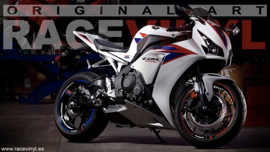Honda CBR 1000RR rim stickers vinyl KIt PRO HRC Racing bicolor