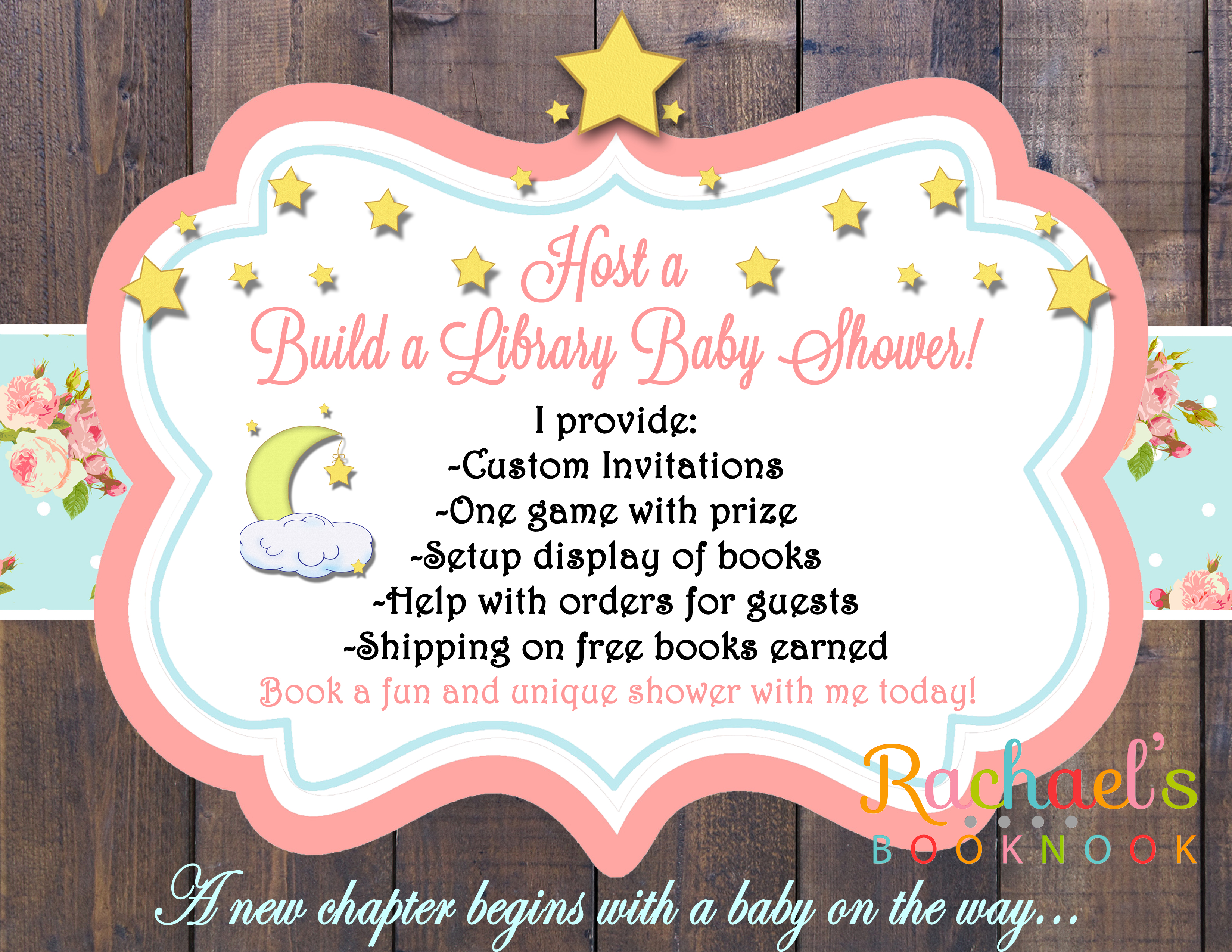 Flyer for build a library baby shower rachaels booknook build a library shower ad copy filmwisefo