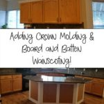 Our Coastal Home- Adding Crown Molding to Kitchen Cabinets and Wainscoting to Island