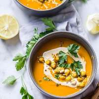 Butternut Squash Bisque with turmeric roasted garbanzos