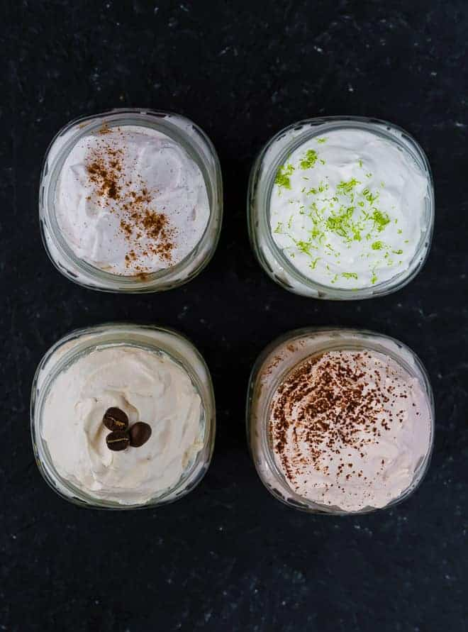 Image of four flavors of homemade whipped cream