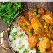 Colorful chicken dish with rice, text overlay reads