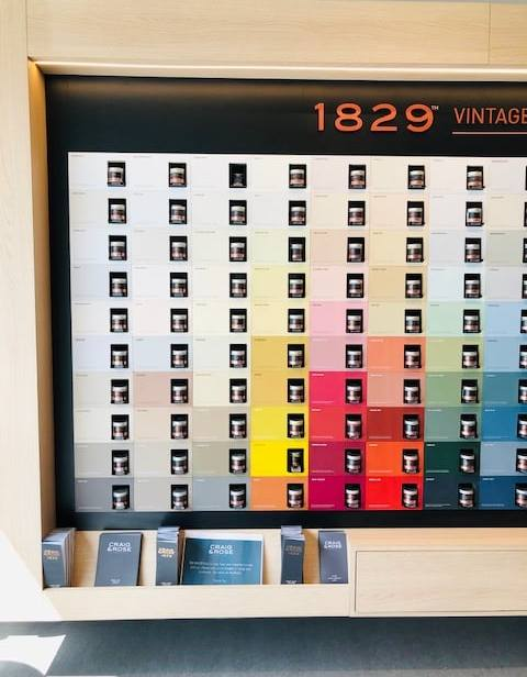 1829 Craig and Rose paint samples in shop