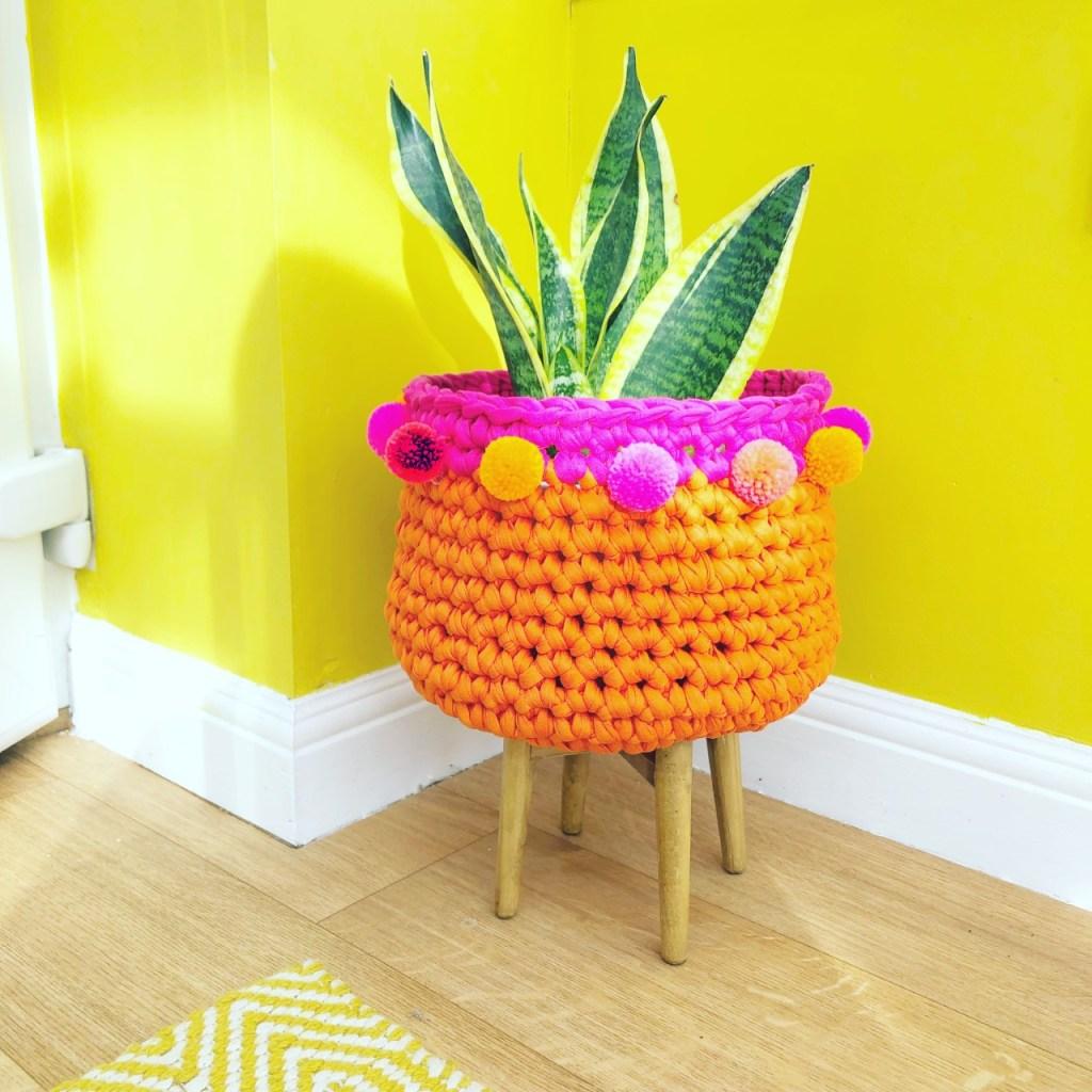 Crocheted t-shirt yarn planter