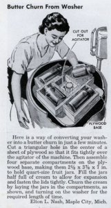 How to turn your washing machine into a butter churn. Popular Mechanics. 1950