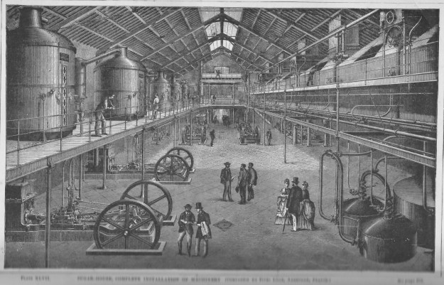 A sugar house built by the French Cinq Lilles company capable of turning 80 million kilos of beets into sugar during a three-month season.  Similar sugar houses for cane sugar were built worldwide by the company