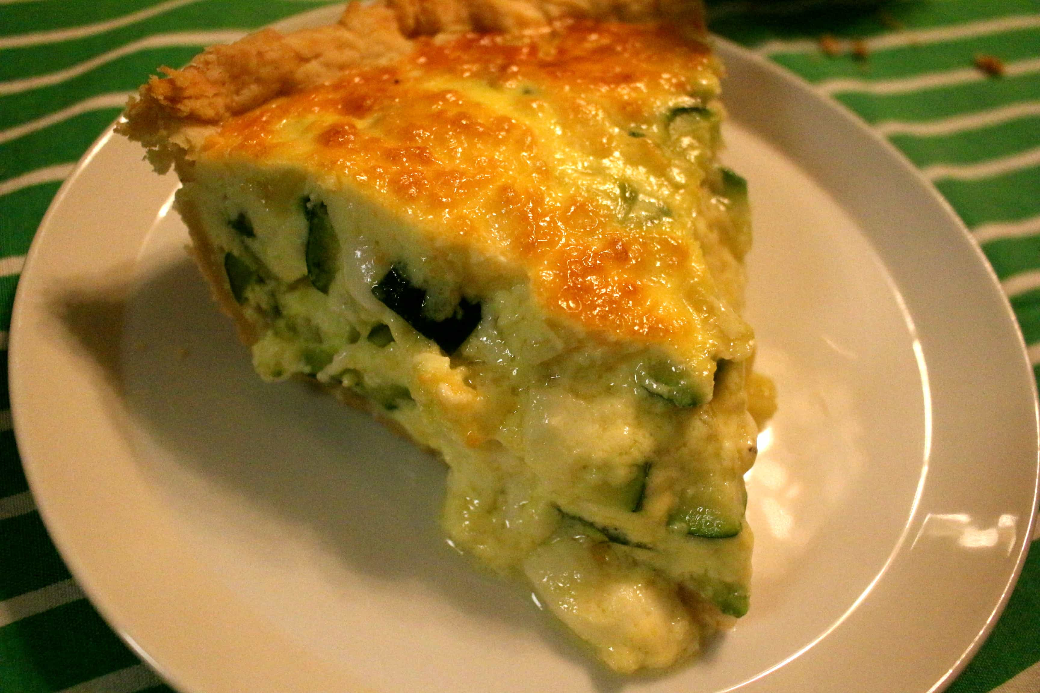 Zucchini and Goat Cheese Quiche with Parmesan Crust