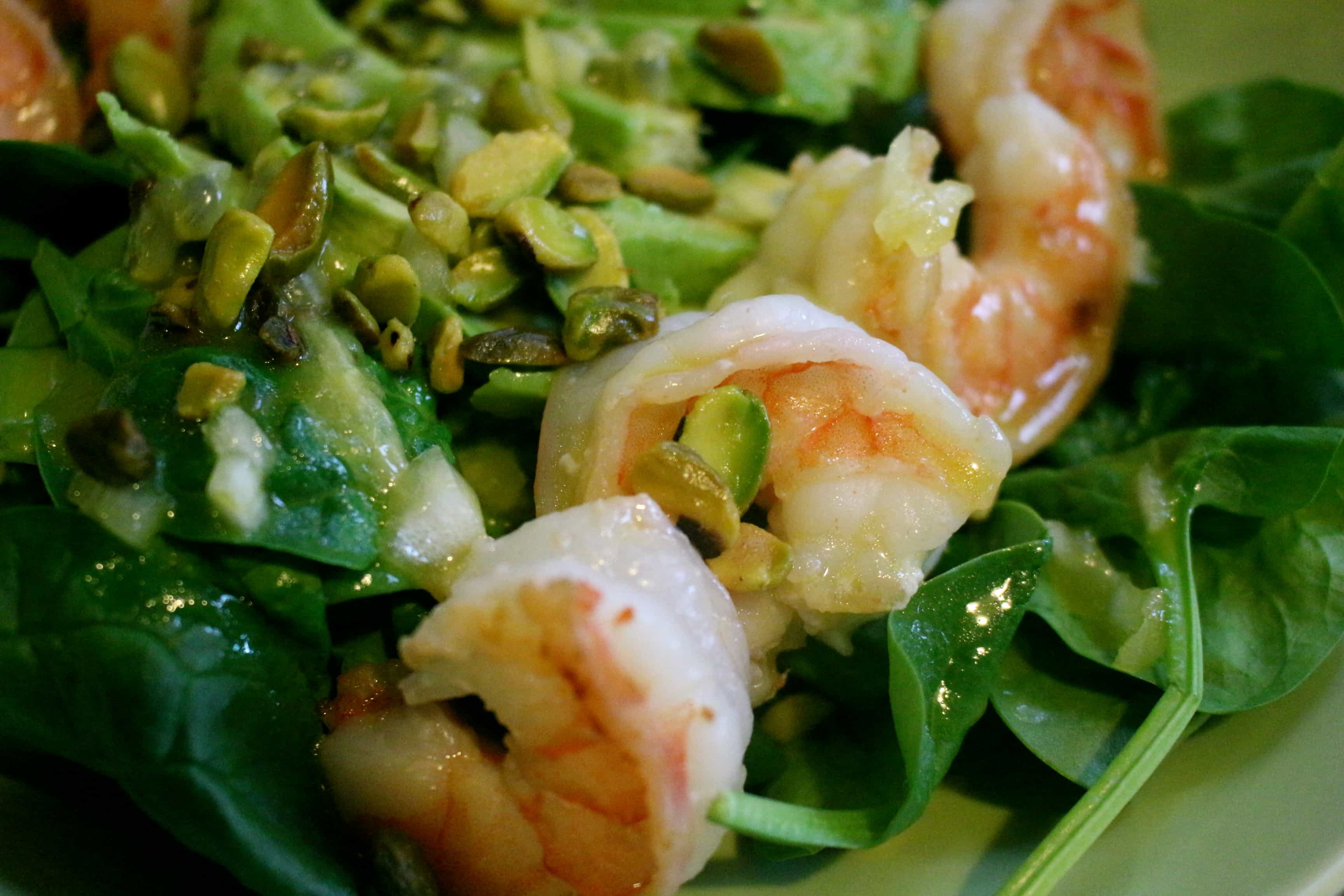 Spinach & Shrimp Salad with Passionfruit Vinaigrette