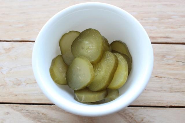 Fermented cucumber pickles.