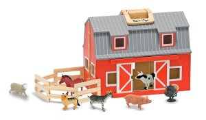 wooden farm barn toy fold-out animals