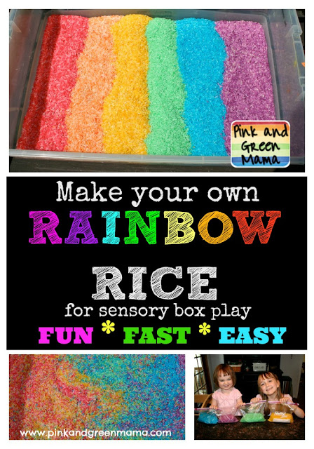 Rainbow Rice Collage Pink and Green Mama