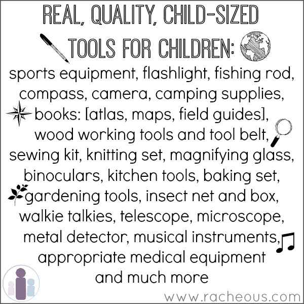 children's sized real tools, Montessori kids