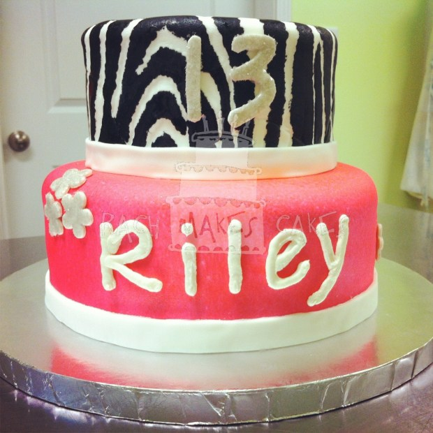 Fabulous Pink Zebra Print Birthday Cake Rach Makes Cakes Funny Birthday Cards Online Overcheapnameinfo