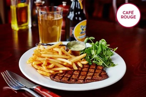 A delicious-looking plate of steak and chips, advertising cafe rouge