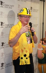 Frank Lamping, Union Grove, spoke to a crowd of about 300 during a pep rally held at Community State Bank, Union Grove, in his honor on Friday. Lamping is a finalist for the Green Bay Packers Fan Hall of Fame.