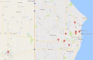 2017 Racine Raiders Ticket Outlet Map