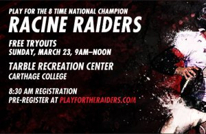 Racine Raiders March 23 tryout