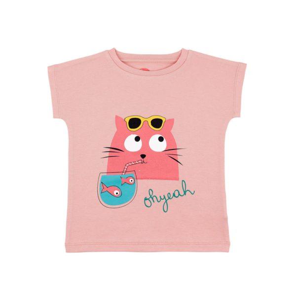 T-shirt Fille Rose Rétro - GOTS - Biologique - Economique - Bébé