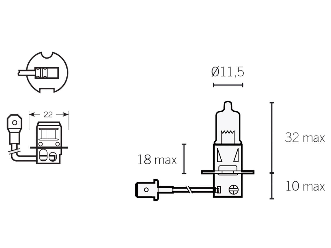 Gluhlampe Halogen H3 Pk22s 12v 55w Fur Scheinwerfer Mit