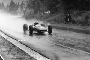 2. John Surtees overcomes the weather to win at Spa in 1966 driving a V12 Ferrari