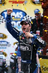 2012 Martinsville2 Jimmie Johnson Celebrates In Victory Lane Vertical