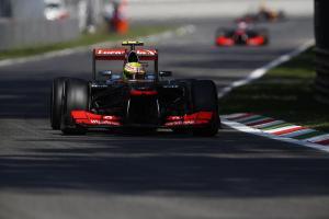 Sergio Perez leads Jenson Button on track