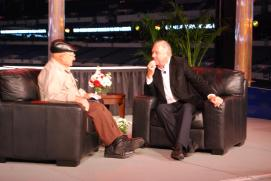 Ed Iskenderian (l.) was interviewed by Barry Meguiar at the 2012 Hot Rod & Restoration Show.