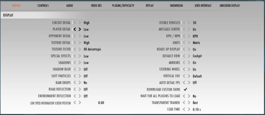 Ajustes gráficos para rFactor 2 con Oculus Rift - Racing Online Club