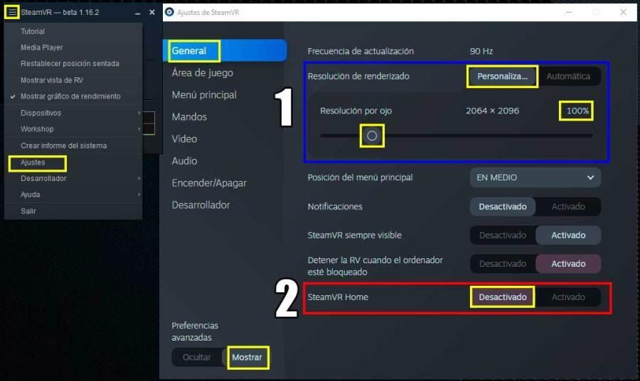 Ajustes de SteamVR para Oculus Quest 2