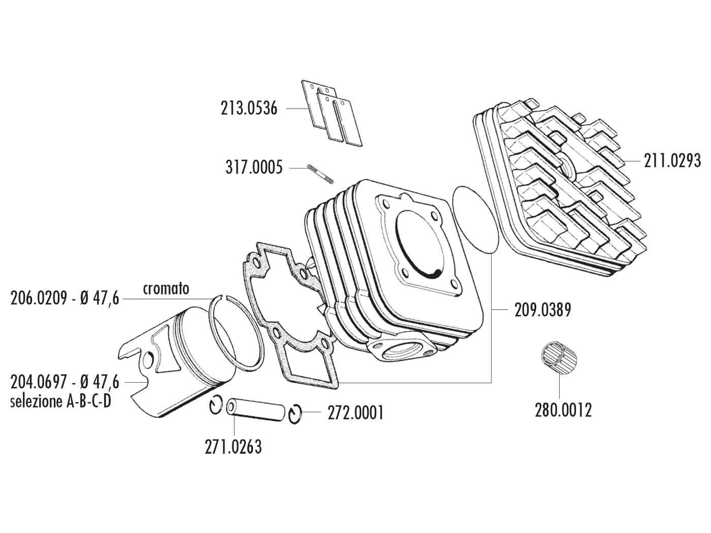 Cylinder kit polini aluminum sport 70cc piaggio ac