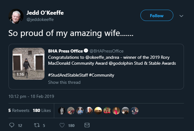 Jedd O'Keeffe tweet