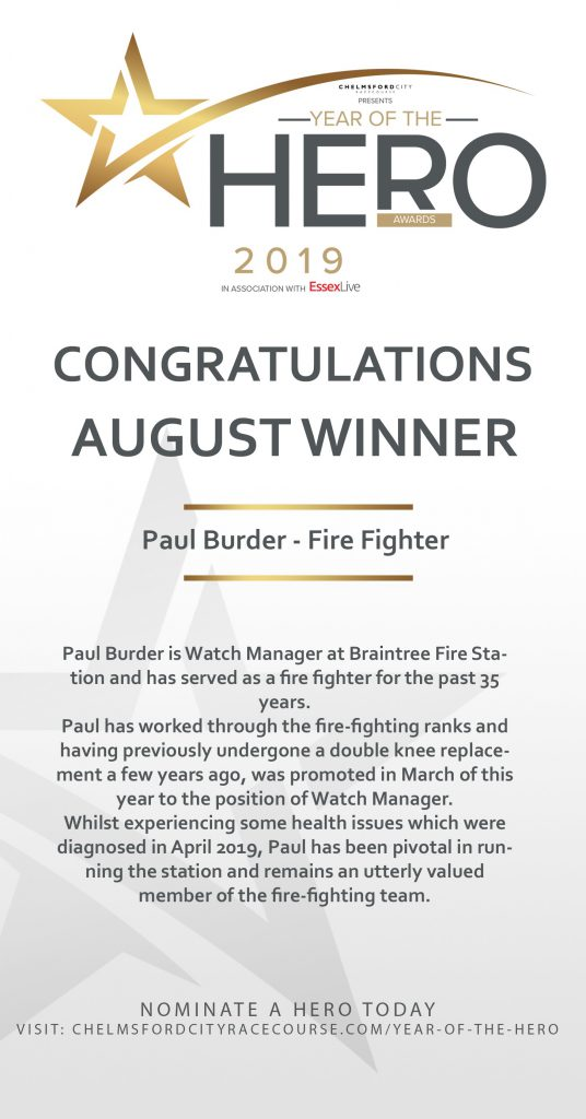 August year of the hero, Firefighter Paul Burder