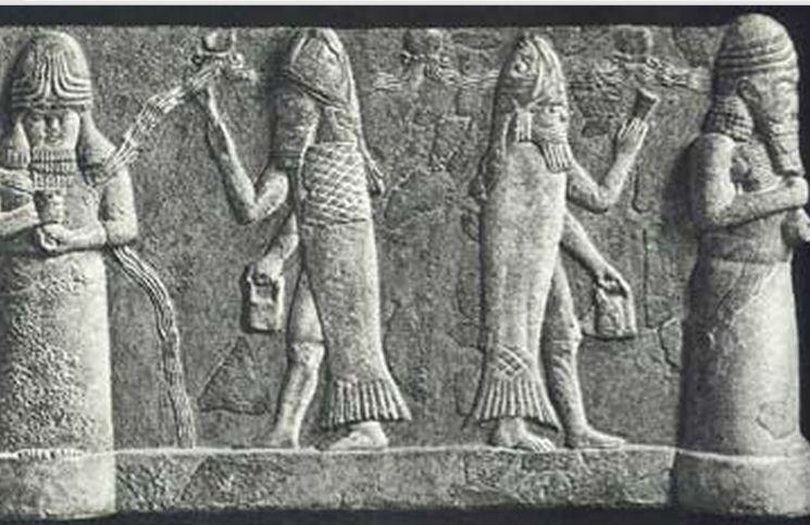 Representação do deus assírio 'Oannes'. Imagem fonte: Mirf