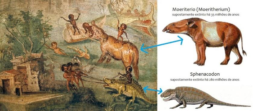 Imagem 07: Representação ampliada e explicativa das criaturas extintas presentes do Afresco de Pompeia.