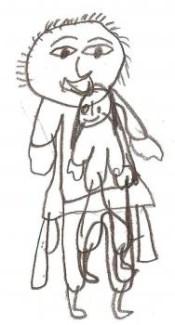 Ester, de 9 anos desenhou a posição que era obrigada a ficar durante os momentos de abusos feitos pelo pai.