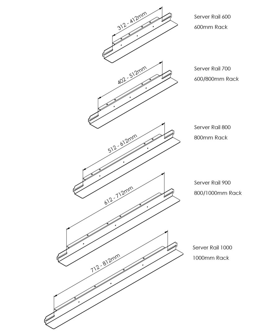 rack support rails for 19 rack or cabinets various lengths