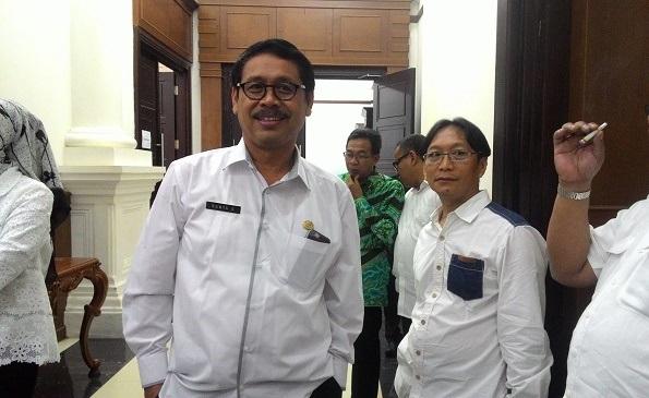 Ranta Soeharta dan Syaiful Bahri saat ditemui di Pendopo KP3B setelah menghadiri pelantikan DRD