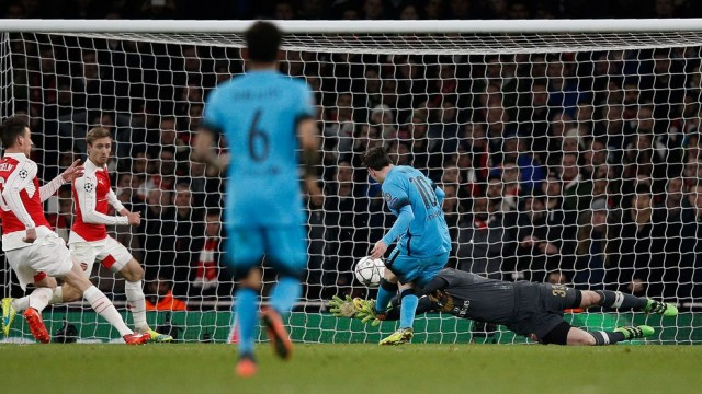 Photo AFP. Messi saat mencetak gol