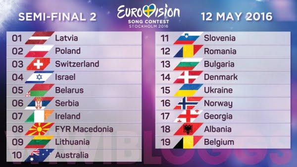 Eurovision 2016 - ordinea intrarii in concurs, semifinala 2