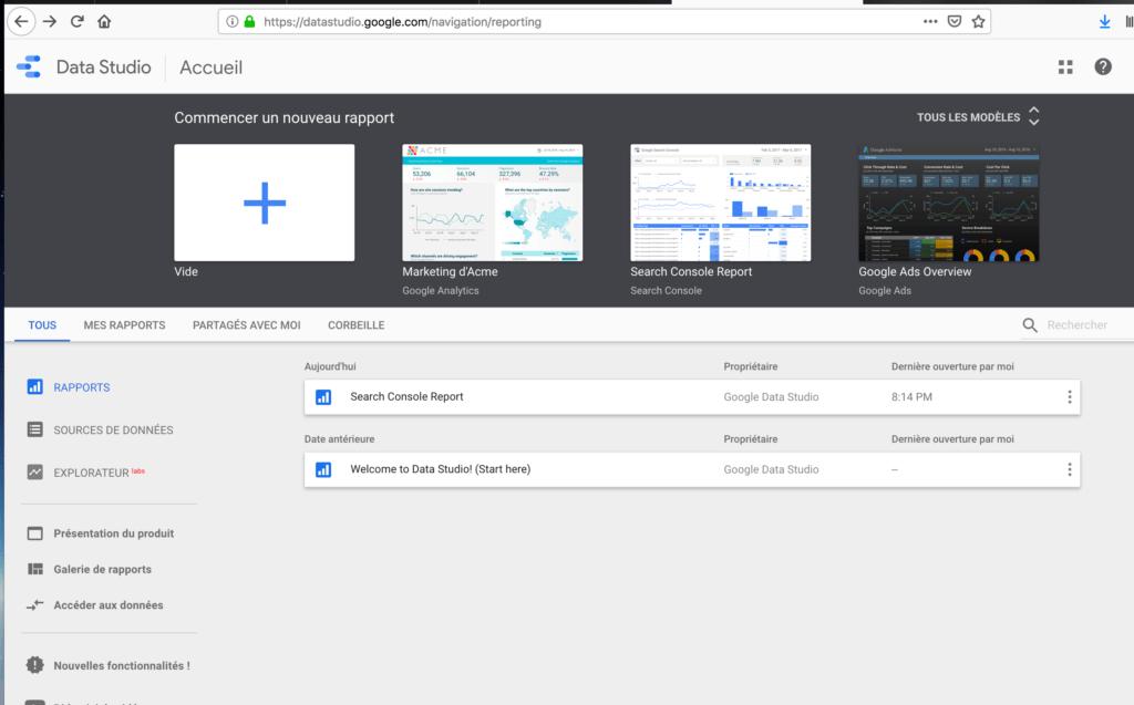 Créer un nouveau rapport dans Google data studio