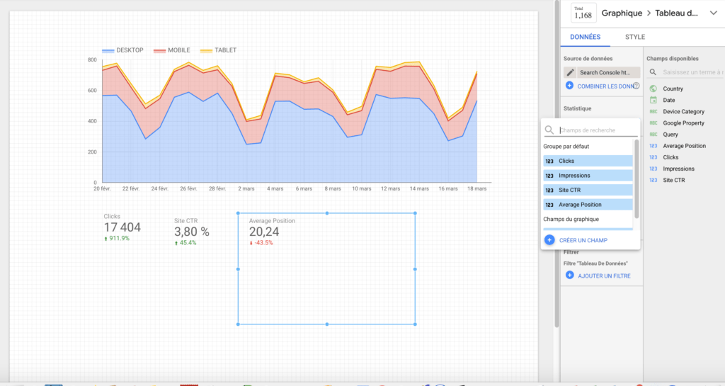 KPI dans un dashboard de Google data studio