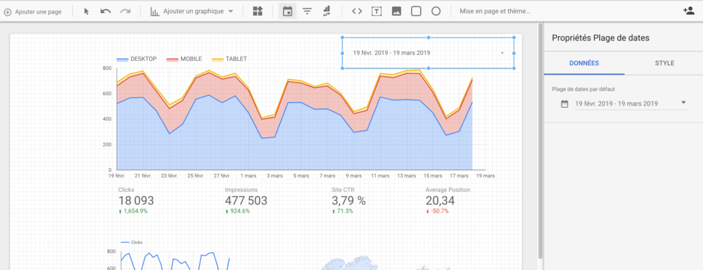 Une plage de dates dans le dashboard de Google data studio