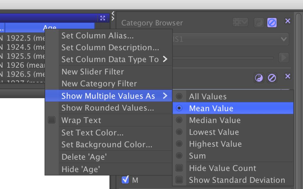 Calculer la valeur moyenne dans une colonne avec DataWarrior